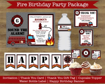 Firefighter Birthday Party Package; Fire Truck Birthday Invitation; Fire Truck Birthday Banner; Fire Truck Birthday Decorations; Fire Party