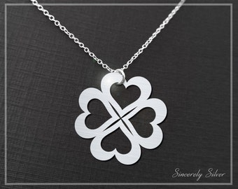 Four Leaf Clover Necklace, Clover Necklace, Shamrock Necklace, Clover Jewelry,  Sincerely Silver Signature Collection