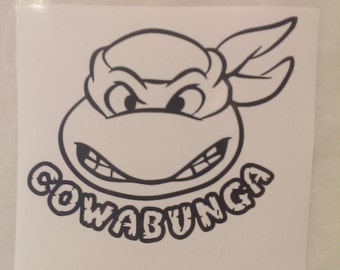 Teenage Mutant Ninja Turtle with Cowabunga Decal Any Size Any Colors