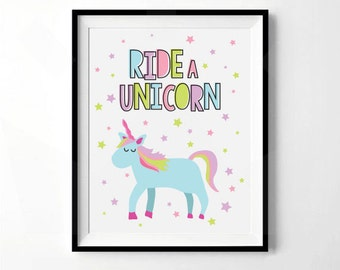 Ride A Unicorn Print | Unicorn Nursery Print | Girls Nursery Decor | Digital Download