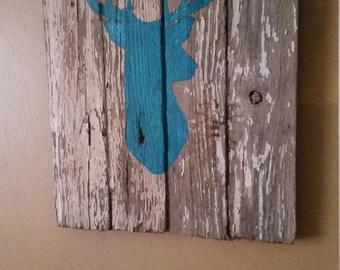 Deer Silhouette On Barnwood, Buck, Rustic, Teal, Chippy Paint