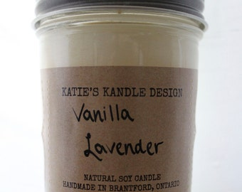 8oz - 100% Soy Wax - Vanilla Lavender Scented Candle with Lavender Essential Oil.