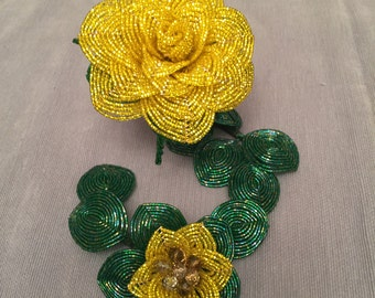 French Beaded Yellow Rose