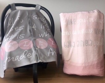 Baby Girl Name Personalized Canopy + Blanket Gift Set