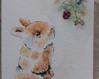 Baby Bunny with Berries- Watercolor Painted card print