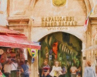 Istanbul's Grand Bazaar, Istanbul Art, Grand Bazaar, Turkish Bazaar, Historic, Travel Art, Entrance Grand Bazaar, Available on Canvas