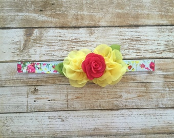 Spring Baby Headband/Easter Headband/Spring Headband/Yellow Headband/Yellow Baby Girl Headband/Baby Headband/Newborn Headband/Girl Headband