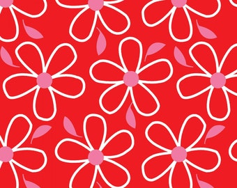 Red Large Floral Cotton Fabric from the Quilt Camp Collection by Barbara Jones for Henry Glass Fabrics