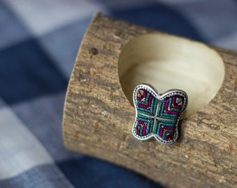 Unique Miao's Embroidery Butterfly Ring