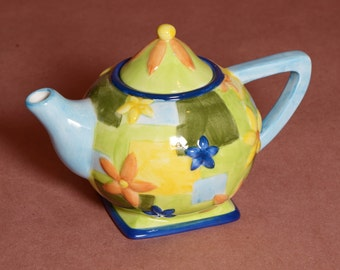 Delicate Handpainted Oneida floral blue and yellow flowered teapot