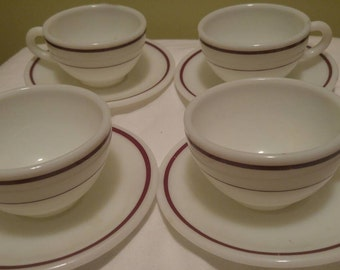 Vintage Red Burgundy Stripe and White Pyrex Double Tough Corning Ware Decor Four Tea Cup Coffee Cups and Four Saucers Set of Eight