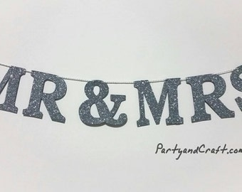 """MR&Mrs Custom Banner from Grey Glitter Felt Fabric - 4.0"""" Tall, wdding decoration,First Birthday, Baby shower, Personalise your bunting flag"""