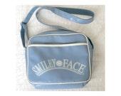 Vintage 90s does 70s Baby Blue Vinyl Smiley Face Messenger Bag