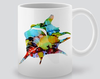 Watercolor Shell Mug  - Coffee Cup - Tea Mug - Printed Ceramic Mug - Colorful Illustration