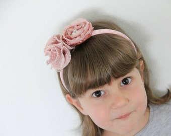 Headband with fabric flowers, rhinestones and beads