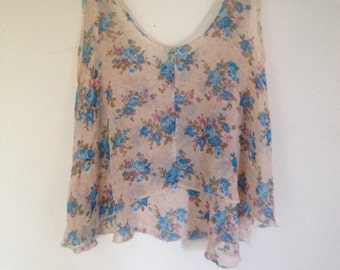Beautiful, Floral, Summery Cami Top - Pink and Blue