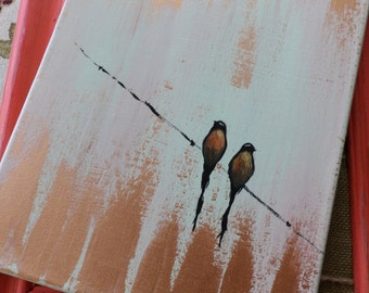 Acrylic Painting, Original Artwork, Canvas Art, Bird Painting, Birds on a Wire, Love Birds, Free Card Included!