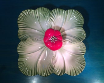 Brad Keeler Mid Century Tomato and Lettuce Leaf Serving Dish Tray #889 from 1950s Mad Men