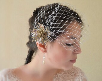 Wedding, bridal short veil, birdcage,  lace flowers
