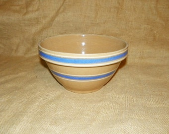 "Yellow Ware #10 Stoneware Bowl with Blue and White Stripes 10 3/8"" Wide by 5 5/8"" High, The Large Mixing Bowl"