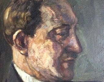 Antique Andrien Hébert oil painting portrait artist of Quebec subject is Marcel Dugas Canadian renown poet pre 1947