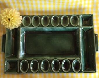 Vintage quality ceramic devil egg platter appetizer plate