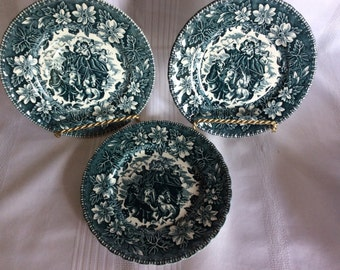 Vintage Coaching Taverns side plate Royal Tudor Ware Staffordshire blue teal color