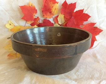 Antique primitive salt glazed mixing bowl kitchenware country kitchen decor