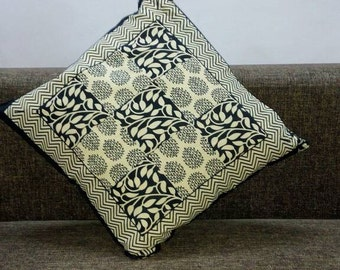 Black & Off White Designer Printed Cushion Covers