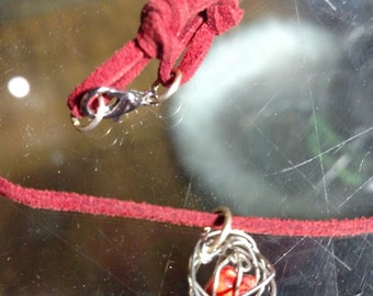 Silver Wire Sphere with Red Floating Bead