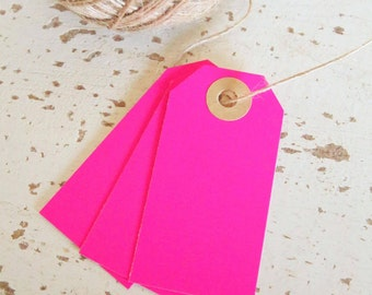 Parcel Tags Pk10 - Neon Pink