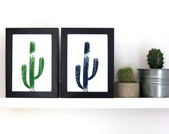 Duo of Cactus Print Greetings Cards - Hand silkscreen printed by Ottostop