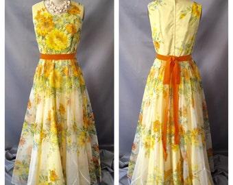 SALE!!!! Custom Vintage Sunshine Floral Dress
