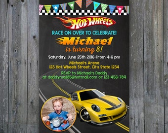 Hot Wheel Chalkboard Porche,Hot Wheel Chalkboard Birthday,Hot Wheel Birthday Invitation,Hot Wheel Invitation,Hot Wheel Chalkboard,Invitation