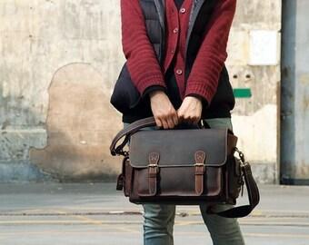 SALE Handmade Vintage Genuine Leather DSLR Camera Bag SLR Camera Bag Leather Camera  Bag Large Briefcase Messenger Bag