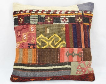 Pillow Cover Vintage Handmade Patchwork Pillow Cover Turkish Anatolian Cushion Cover Sofa bedroom pillow kilim cushion pillow 40 x 40 cm