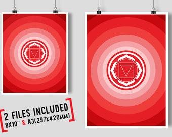 Chakra Muladhara Symbol, Chakra Poster, Yoga Art, Digital Download Print, Chakra Art, Mystical, Mandala Wall Art, Wall Decor, Printable Art