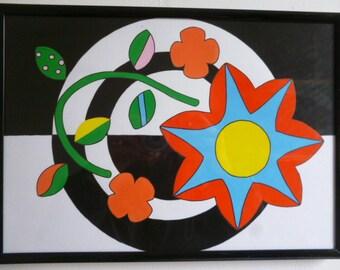 Flower fun. Childrens illustration. Playroom/nusery art.