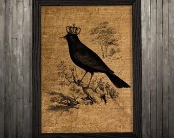 Raven poster Crow print Burlap print Bird decor BLP247