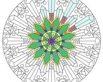 Crystal Star Snowflake Mandala Coloring Page, Instant Download, Printable, Art Therapy