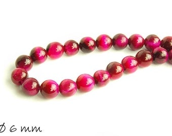 20 PCs beads pink Tiger eye Ø 6 mm