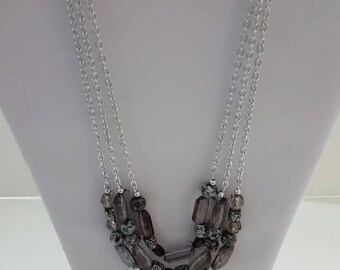 Smoke and mirrors acrylic bead 3 strand necklace