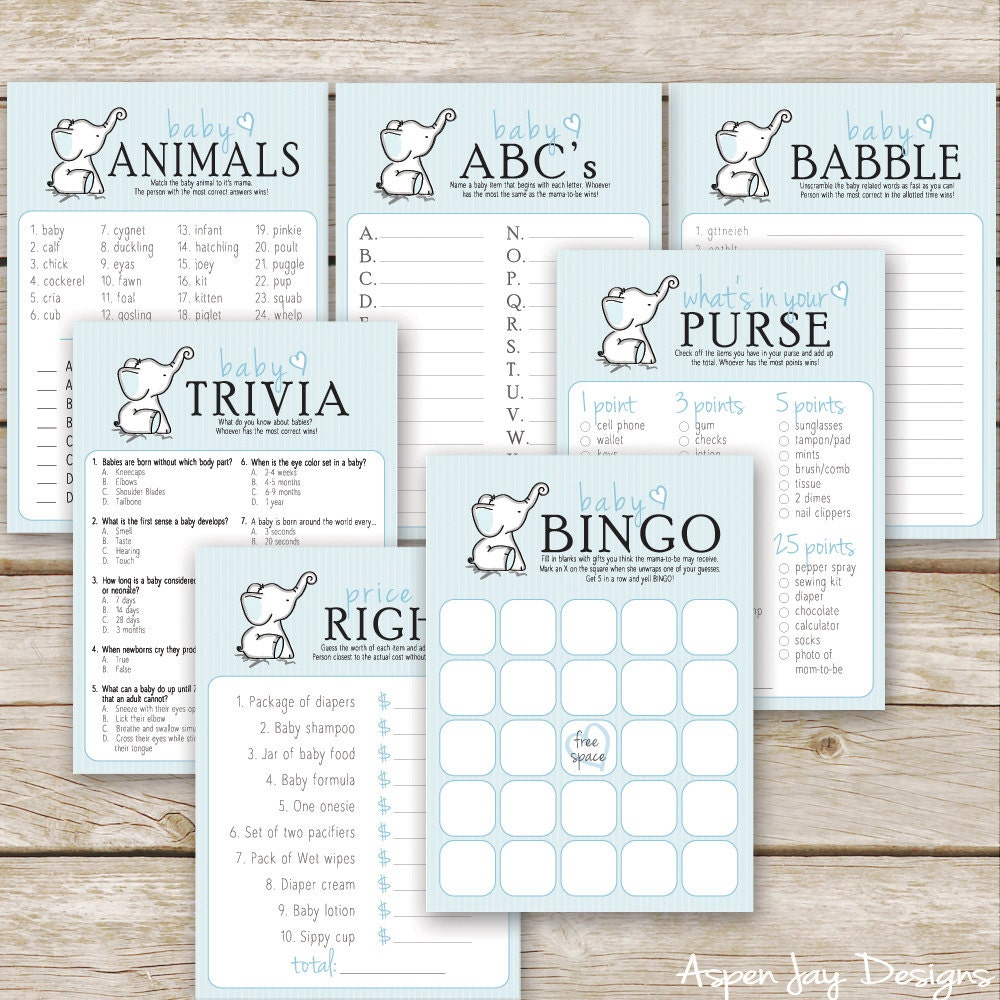 blue elephant baby shower games seven by aspenjaydesigns on etsy