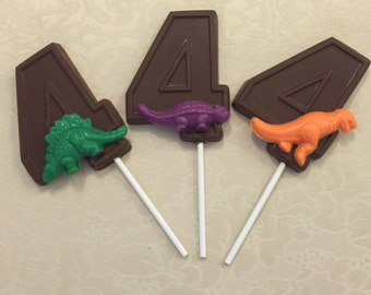 """Number Four """"DINOSAUR"""" Chocolate Lollipops - T-REX Favors/Dinosaur Favors/Fourth Birthday/Party Favors/Dinosaurs/Dinosaur Lollipops"""