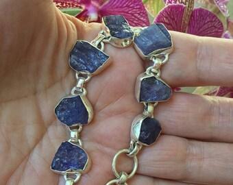 141.50ct Handmade Tanzanite Crystal Bracelet .925 Sterling Silver