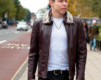 Mens Leather jacket - Biker Jacket - Fur Collar Jacket - Leather Jacket Men - Motorcycle Jacket - Moto Jacket - Brown Leather Jacket