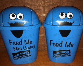 Feed Me Personalized Mini Trash Can Teacher Appreciation Gift Back to School Student Education Waste Basket Collect Money for your school