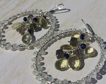 Aquamarine and Lemon Quartz Chandelier Earrings