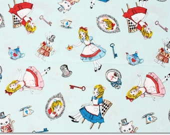 Alice in Wonderland Fabric made in Japan, Lecien Fabric / Half Yard 18inch x 43inch
