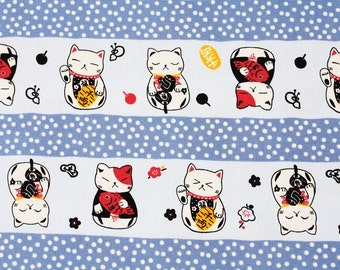 "Japanese Fortune Cat Maneki Neko Fabric made in Japan, Cats Fabric / Half Meter 50cm by 108cm or 20"" by 43"""